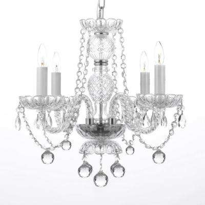 Empress Crystal 4-Light Crystal Chandelier with Faceted Crystal Balls