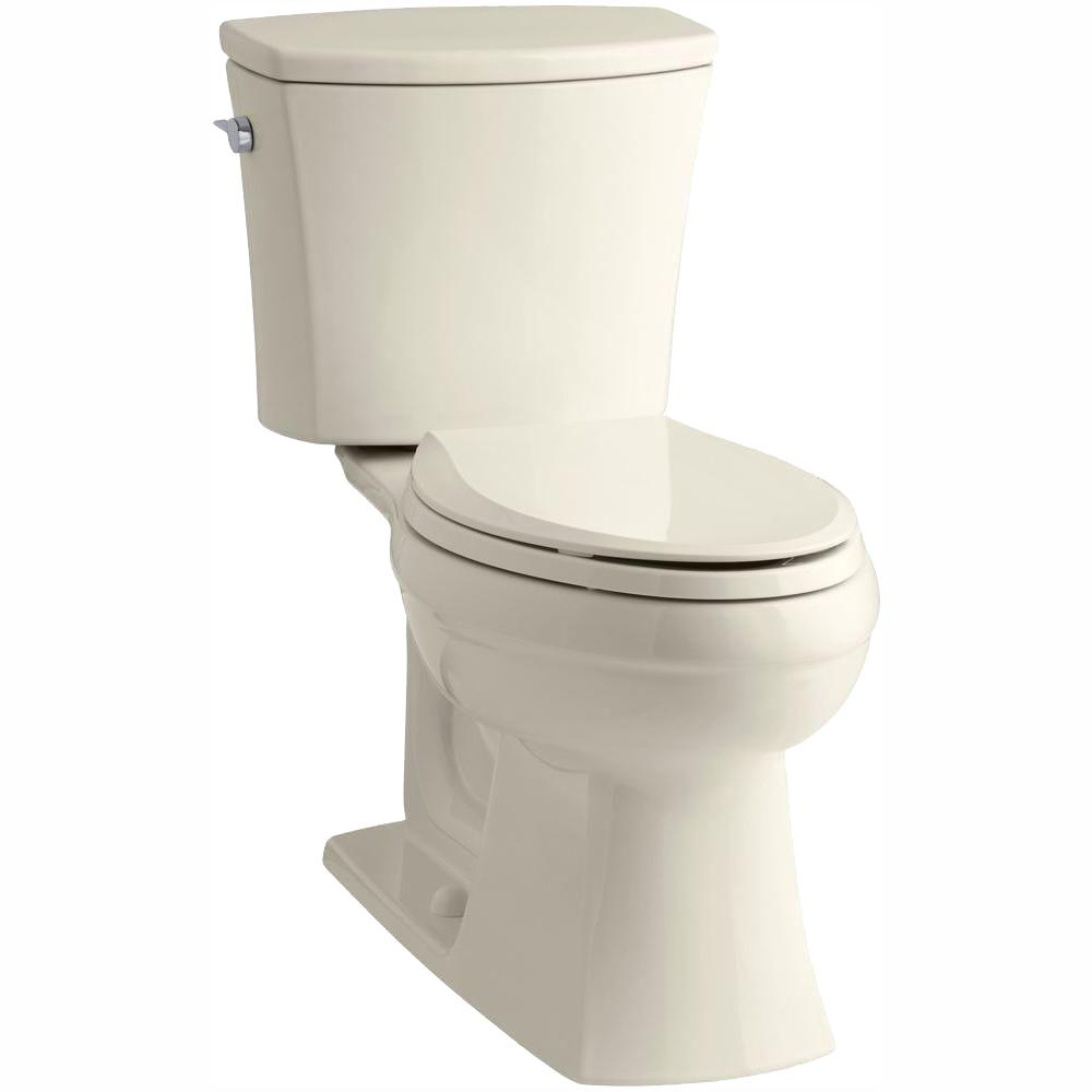 KOHLER Kelston Comfort Height 2-piece 1.28 GPF Single Flush Elongated Toilet with AquaPiston Flushing Technology in Almond