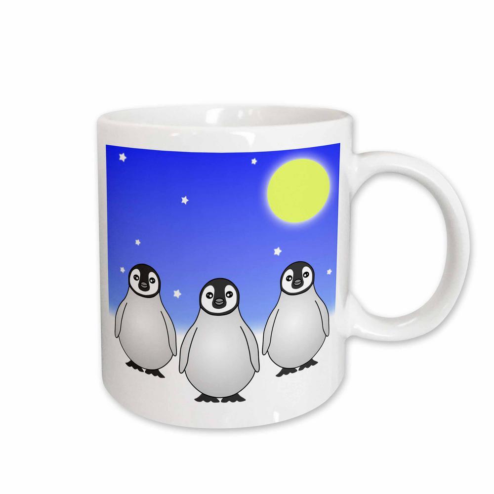 Janna Salak Designs Winter Wonderland 11 oz. White Ceramic Baby Emperor Penguins Snowy Day Mug