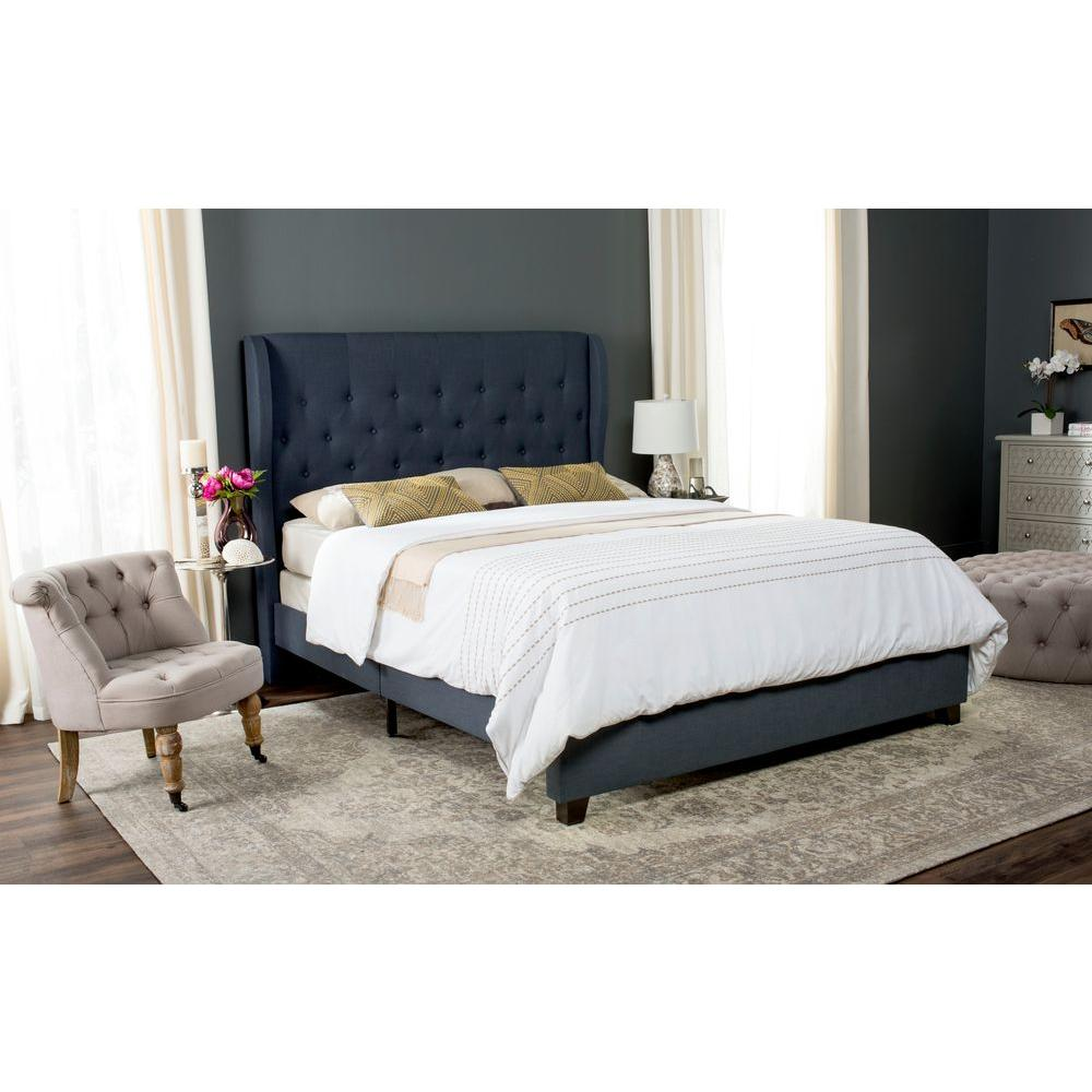 Safavieh Blanchett Navy Queen Upholstered Bed-FOX6213B-Q - The Home Depot