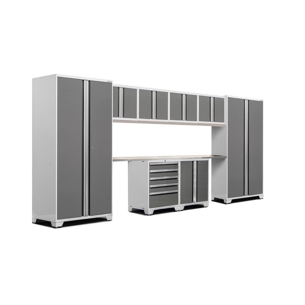 Pro 3.0 83.25 in. H x 184 in. W x 24 in. D 18-Gauge Steel Stainless Steel Worktop Cabinet Set in Platinum (10-Piece)