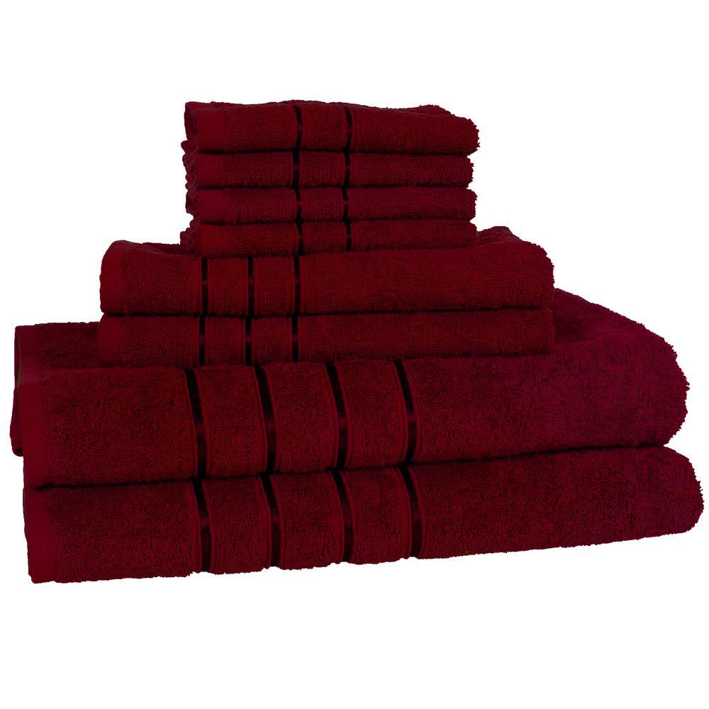 100% Cotton Bath Towel Set in Burgundy (8-Piece)