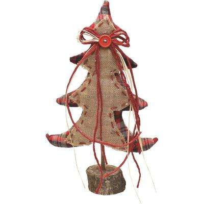 16 in. Burlap and Plaid Decorative Table Top Christmas Tree on Wooden Base