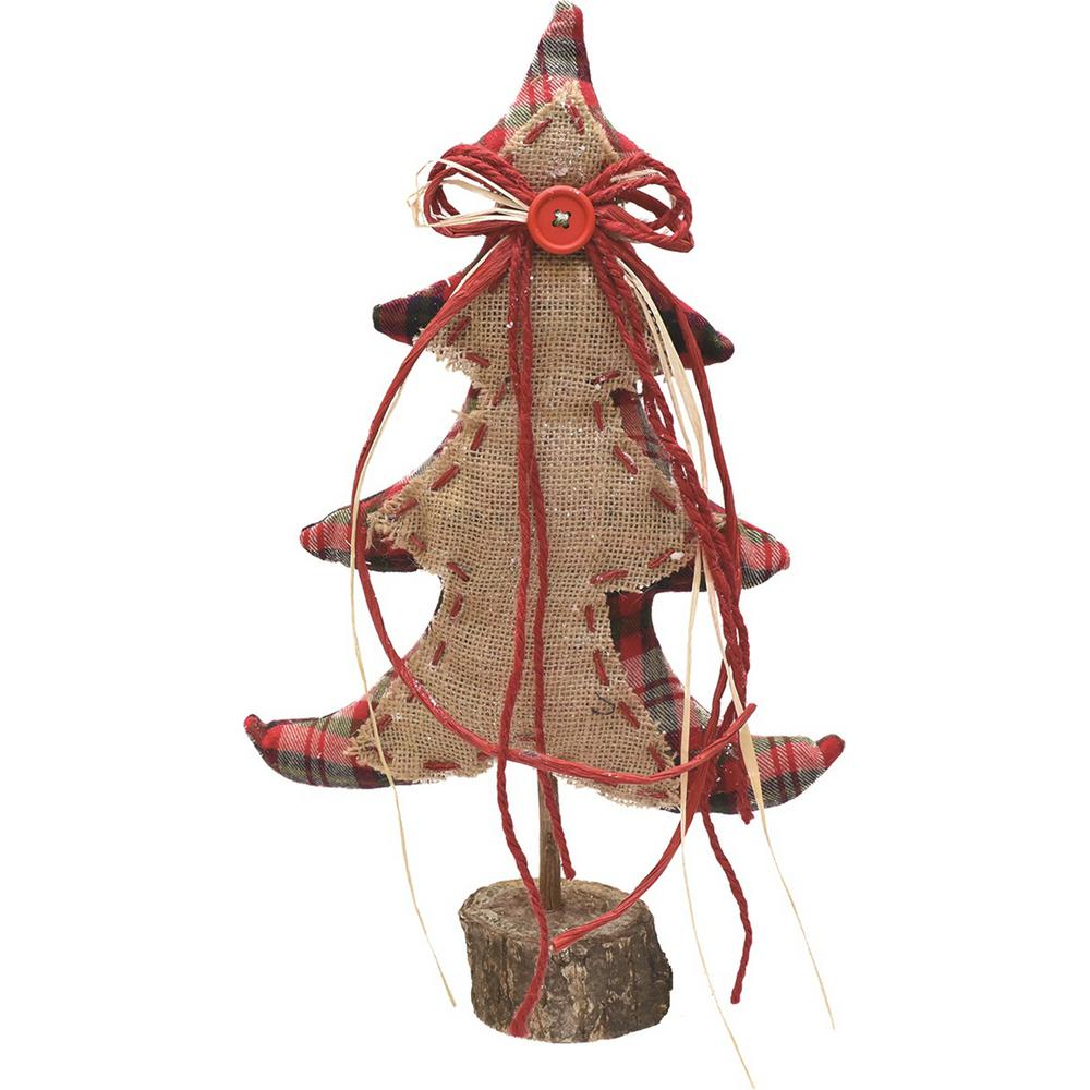 Northlight 16 In Burlap And Plaid Decorative Table Top Christmas Tree On Wooden Base