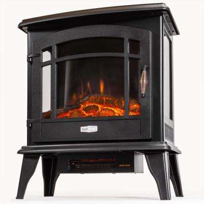20 in. 1500-Watt 3-Sided Free Standing Compact Infrared Quartz Electric Fireplace Firebox Heater in Vintage Black