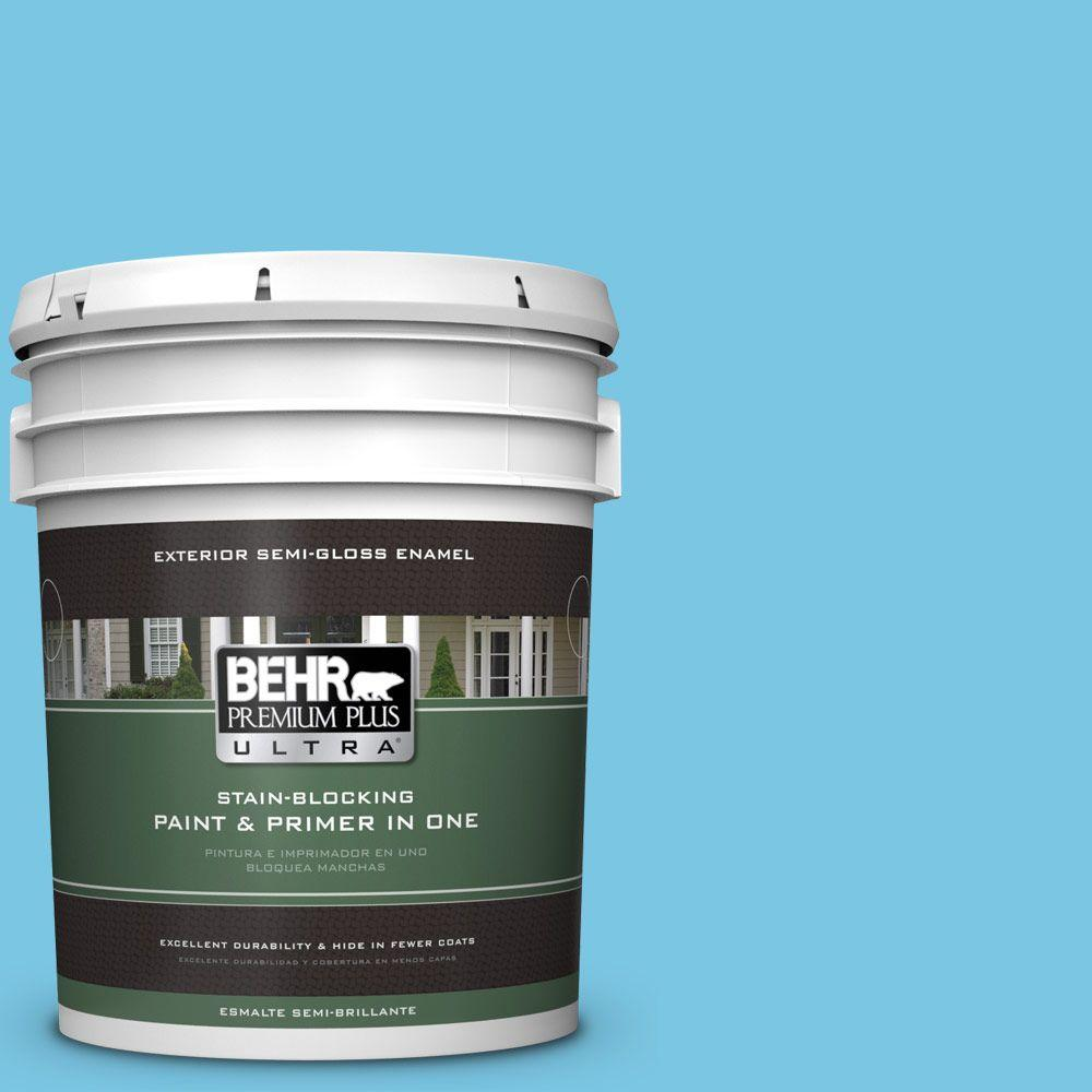 BEHR Premium Plus Ultra 5-gal. #530B-4 Bliss Blue Semi-Gloss Enamel Exterior Paint