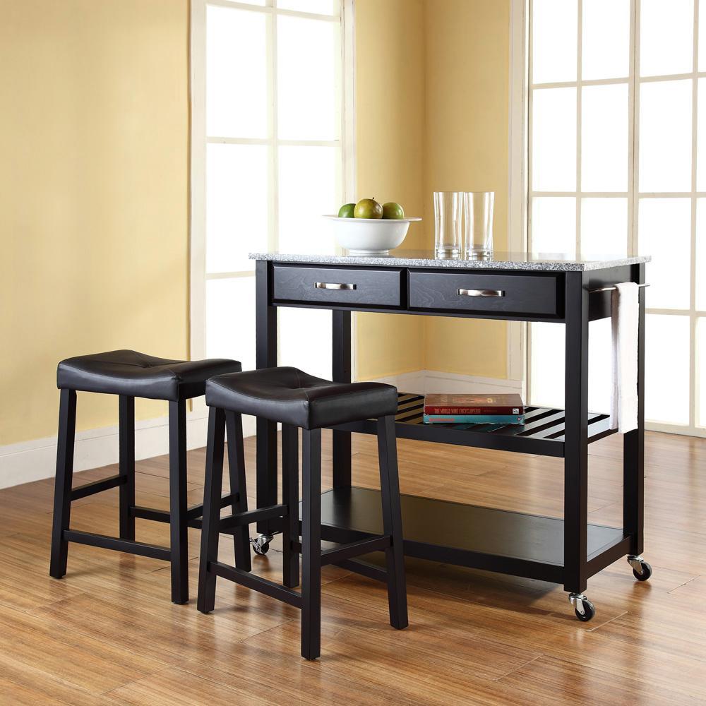 Crosley Black Kitchen Cart With Granite Top KF300534BK