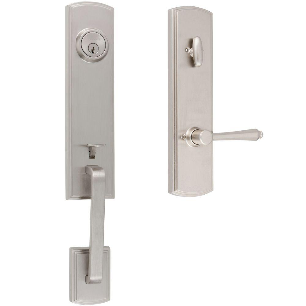 Italian Collection Briona Satin Nickel Dummy Door Handleset with Florini