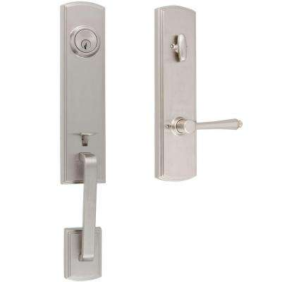 Italian Collection Briona Single Cylinder Satin Nickel Handleset with Florini Interior Right-Hand