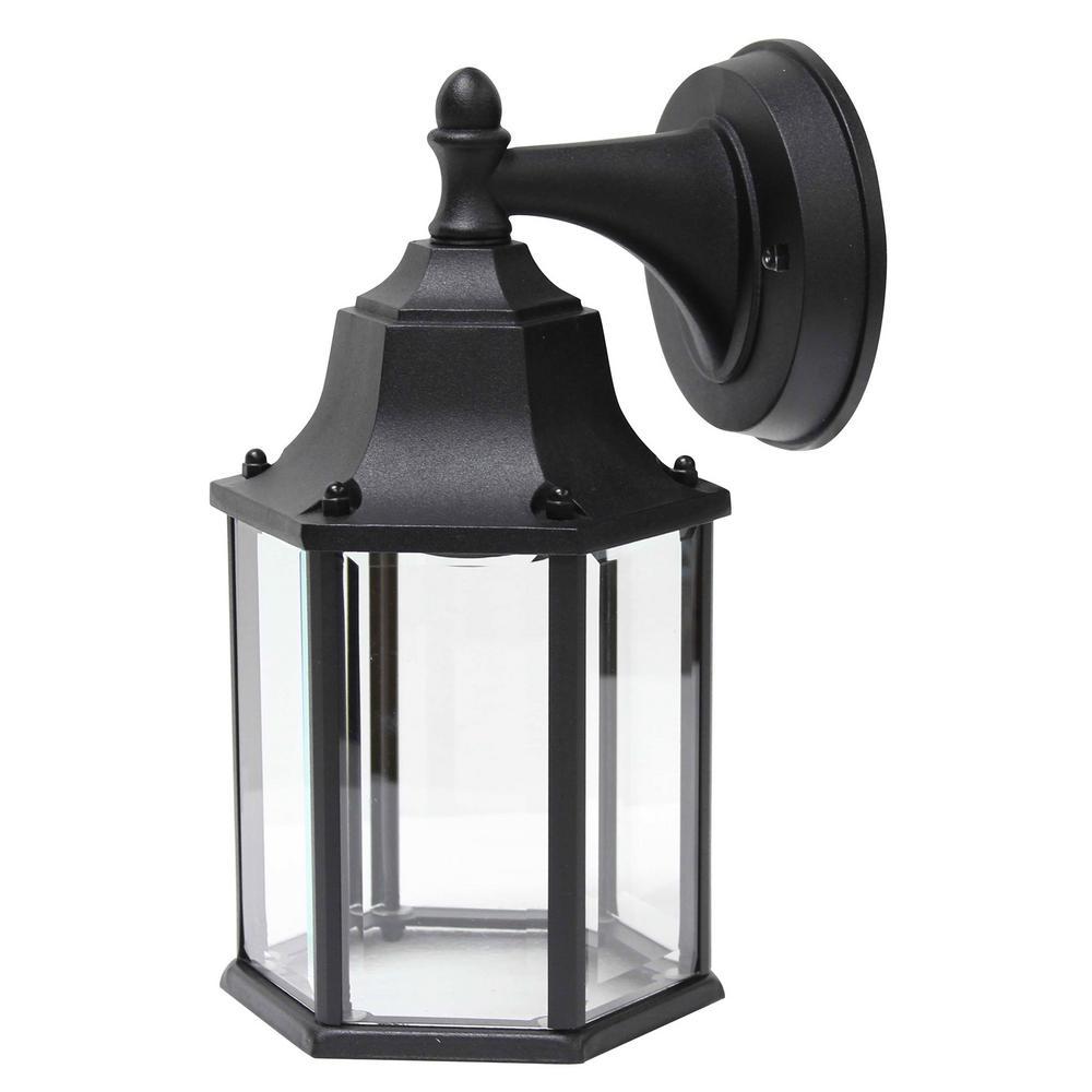 Black Outdoor Integrated LED Light Wall Mount Lantern Lighting