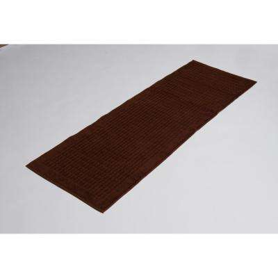 Solomon Collection 20 in. W x 59 in. H 100% Turkish Cotton Bordered Design Luxury Bathmat Runner in Brown