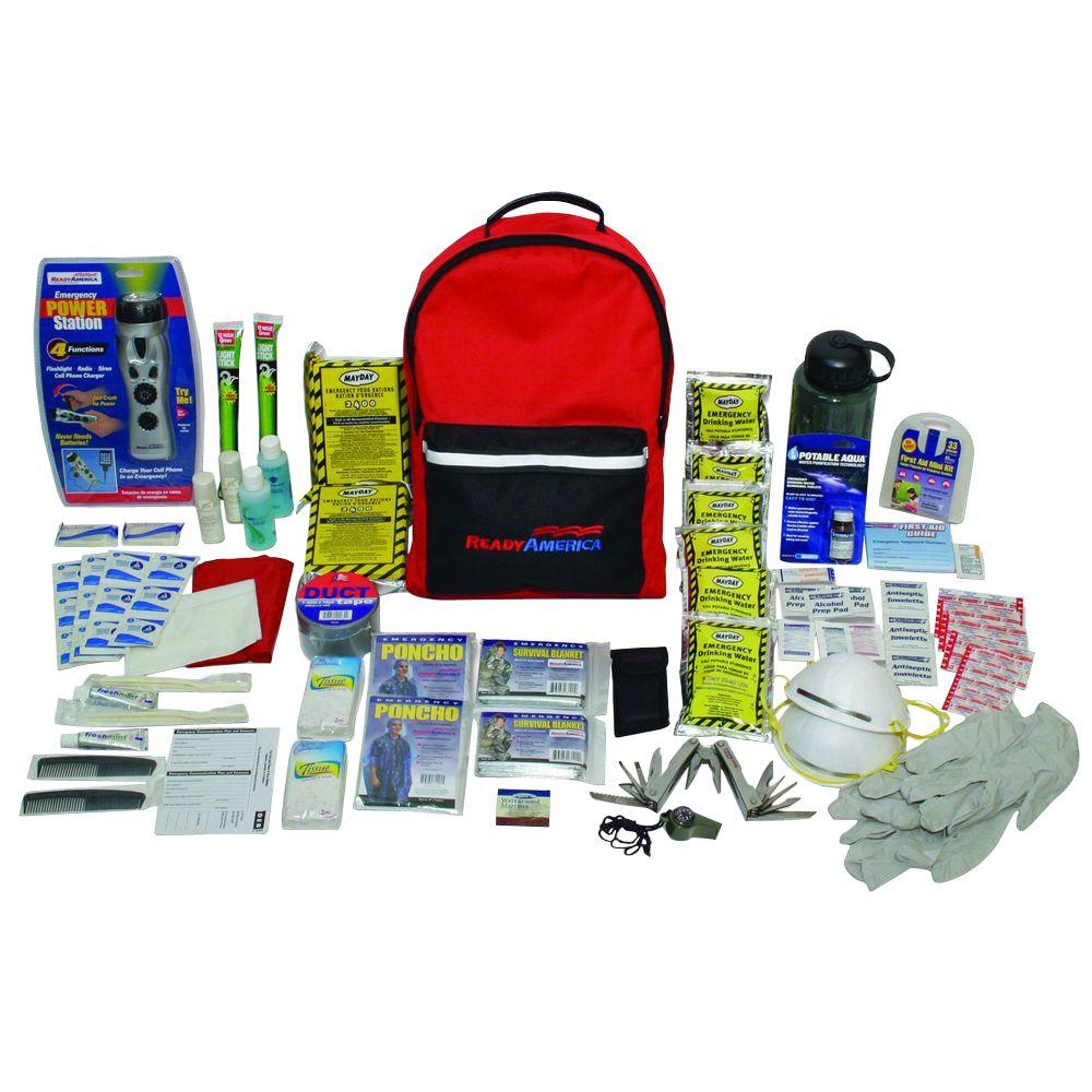 ready america 2 person 3 day deluxe emergency kit with backpack 70285 the home depot