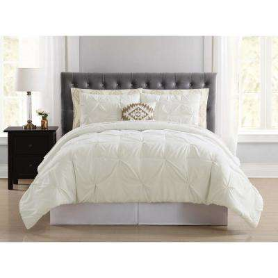 Pueblo Pleated Ivory Queen Bed in a Bag