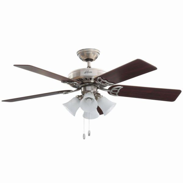 Hunter Studio Series 52 In Indoor Brushed Nickel Ceiling Fan With Light Kit 53064 The Home Depot