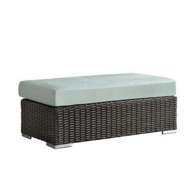 Camari Charcoal Wicker Outdoor Ottoman with Sunbrella Blue cushion
