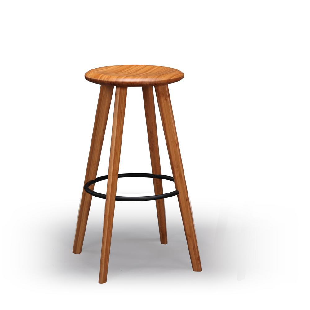 Mimosa 26 in. Caramelized 100% Solid Classic Bamboo Counter Stool (Set