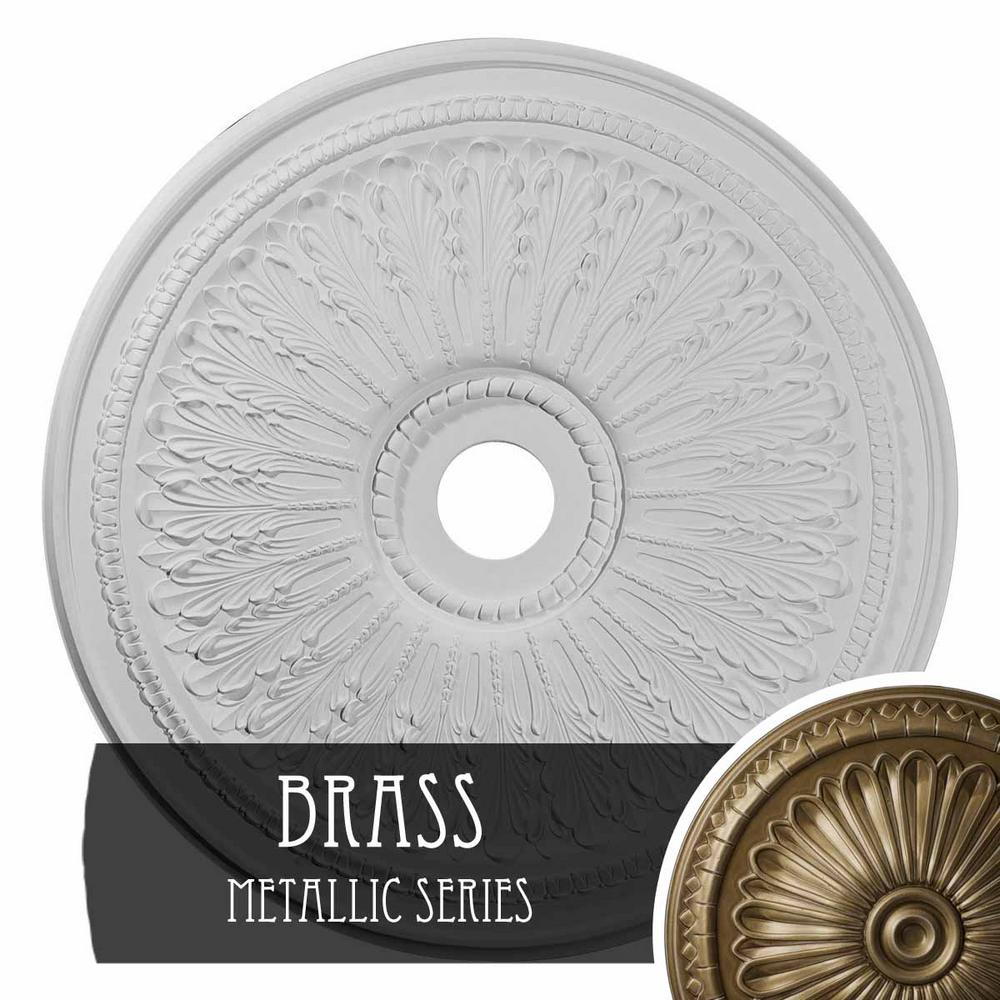 Ekena Millwork 29 1 8 In X 3 5 8 In Id X 1 In Oakleaf Urethane Ceiling Medallion Fits Canopies Up To 6 1 4 In Hand Painted Brass Cm29oabrs The Home Depot
