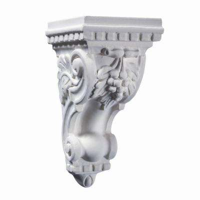 5-1/16 in. x 5-11/16 in. x 9-13/16 in. Unfinished White Polyester Resin Grape Corbel