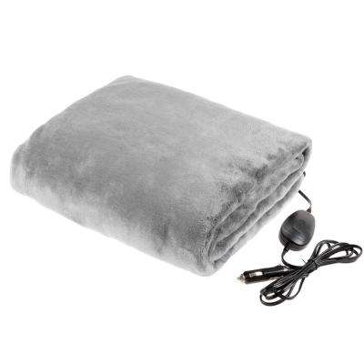 Gray Polyester 12 Volt Electric Heated Car Blanket Travel Throw Fleece