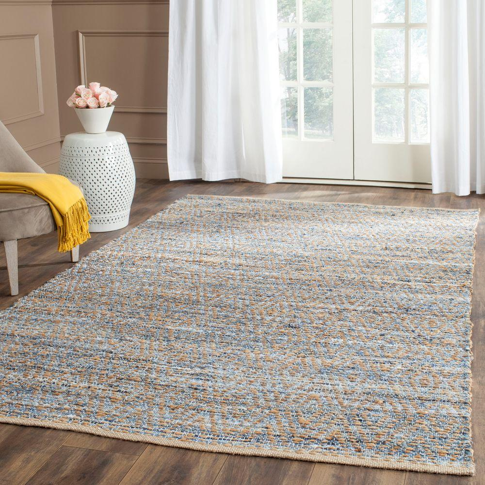 Cape Cod Natural/Blue 5 ft. x 8 ft. Area Rug