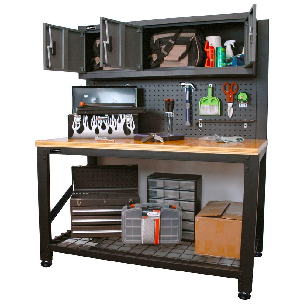 Garage Series 5 ft. Industrial Steel Workbench with Cabinet Storage