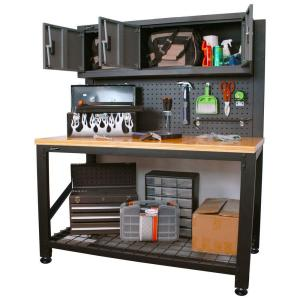 Homak Garage Series 5 ft. Industrial Steel Work Bench with Cabinet Storage by Homak