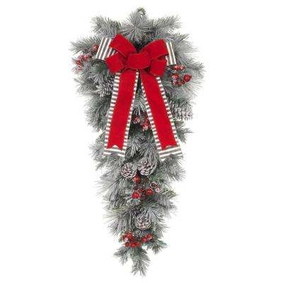32 in. Unlit Snowy Pine Teardrop with Gray Striped and Red Velvet Bows