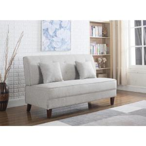 Miraculous Button Light Brown Color Tufted Loveseat With Pillows 73023 Caraccident5 Cool Chair Designs And Ideas Caraccident5Info