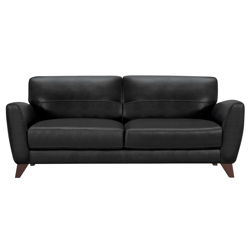 Armen Living Genuine Black Leather Contemporary Sofa With Brown Wood Legs