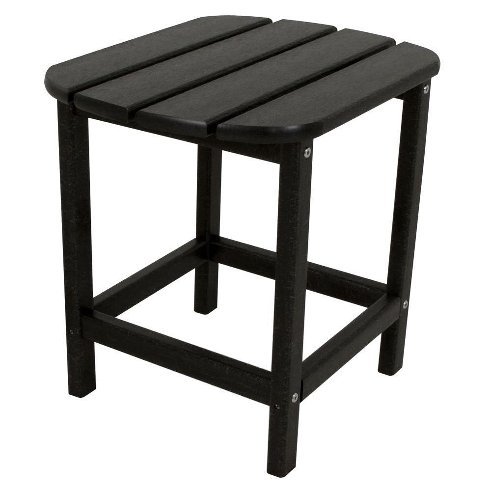 polywood south beach 18 in black patio side table sbt18bl the home depot. Black Bedroom Furniture Sets. Home Design Ideas