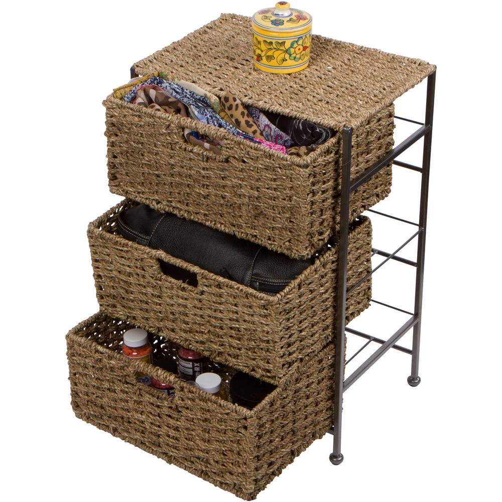 Seagr And Metal 3 Drawer Basket Storage Chest Side Table