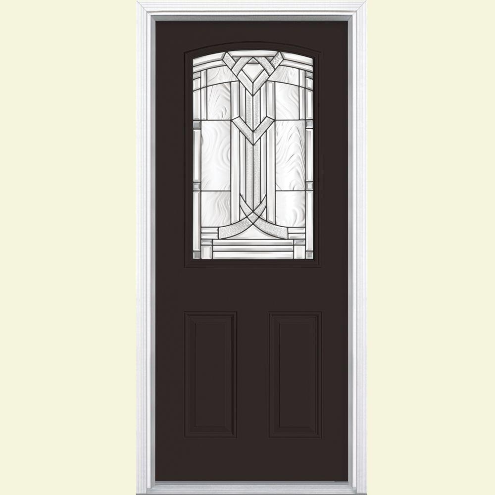 Masonite 36 in. x 80 in. Chatham Camber 1/2 Lite Right Hand Painted Smooth Fiberglass Prehung Front Door w/ Brickmold,Vinyl Frame