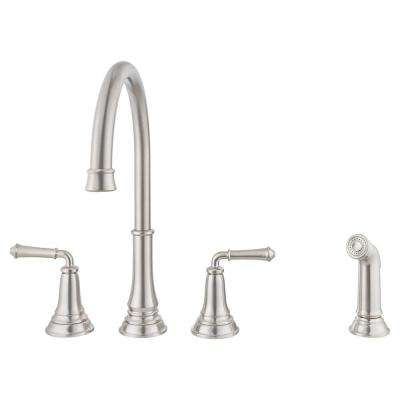 Delancey 2-Handle Standard Kitchen Faucet with Side Sprayer in Stainless Steel