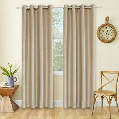 Aberdeen 54 in. L x 45 in. W Max Blackout Thermal Coating Polyester Curtain in Wheat