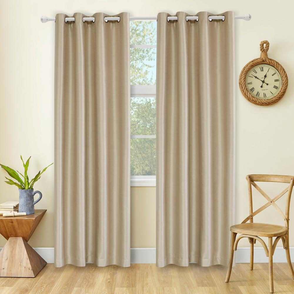 Lyndale Decor Aberdeen 95 in. L x 45 in. W Max Blackout Thermal Coating Polyester Curtain in Wheat