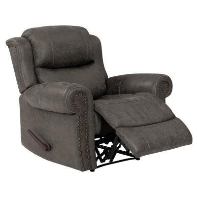 Distressed Fog Gray Faux Leather Extra Large Wall Hugger Rolled Arm Reclining Chair