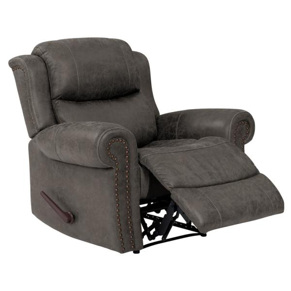 ProLounger Distressed Fog Gray Faux Leather Wall Hugger Rolled Arm Reclining