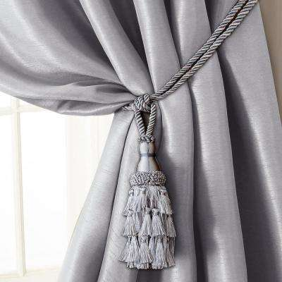 Charlotte 24 in. Tassel Tieback Rope Cord Window Curtain Accessories in Silver
