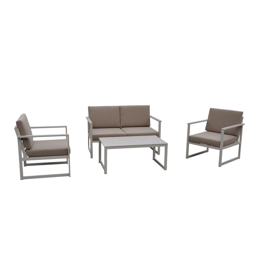 Oceana Sand 4 -Piece Aluminum Outdoor Sofa Set with Gray Cushions