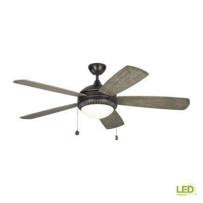 Discus Ornate 52 in. LED Indoor Aged Pewter Ceiling Fan