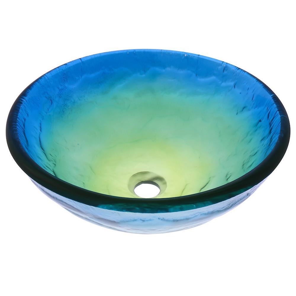 Mare Glass Vessel Sink in Ocean Colors