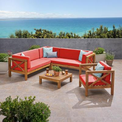 Brava Teak Brown 5-Piece Wood Patio Conversation Sectional Seating Set with Red Cushions