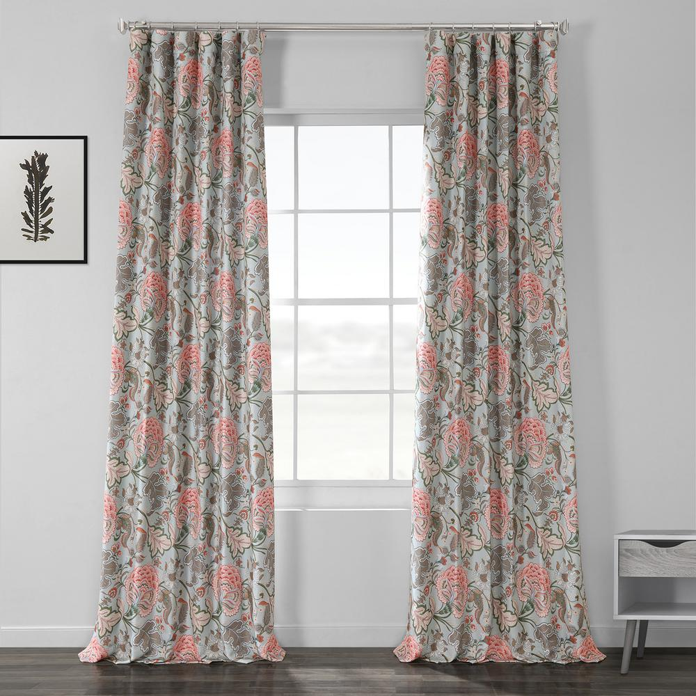 Exclusive Fabrics & Furnishings Garden Party Sky Blue Printed Linen Textured Blackout Curtain - 50 in. W x 120 in. L (1-Panel)