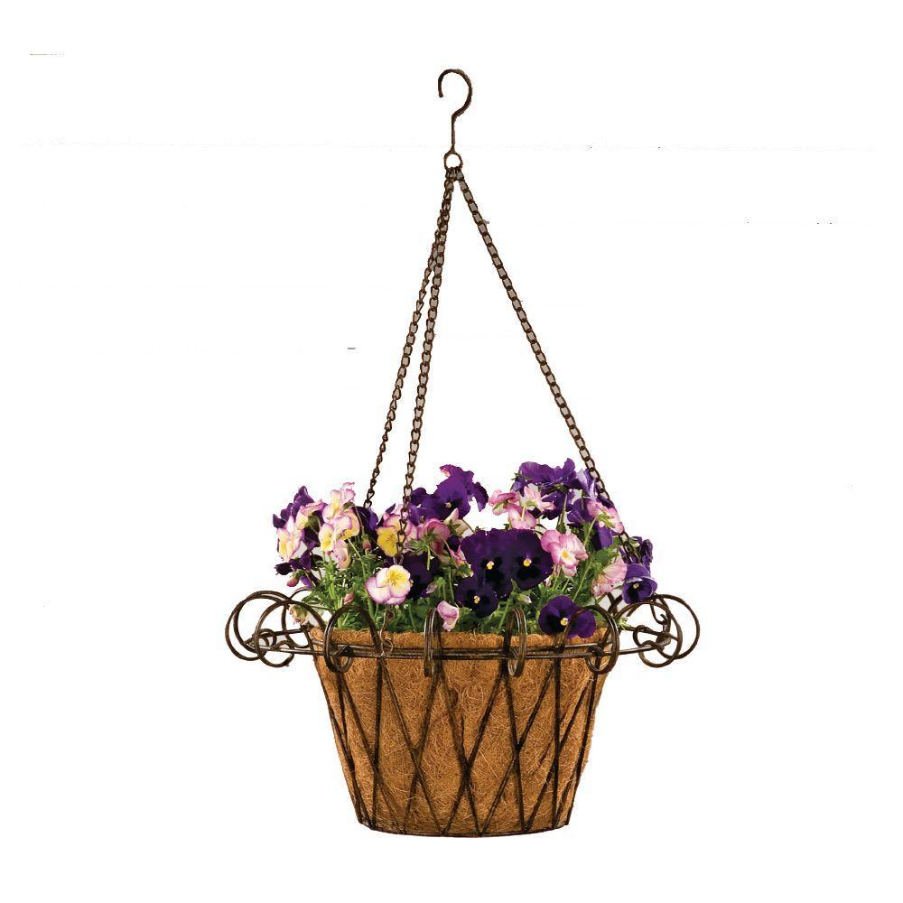 Deer Park 17 In Metal Flower Basket With Coco Liner