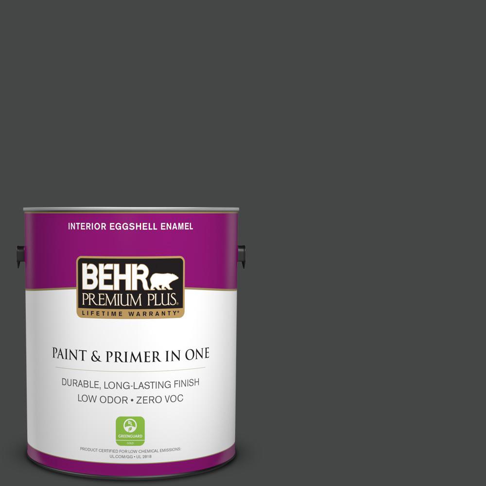1 gal. #PPU26-23 Black Boudoir Zero VOC Eggshell Enamel Interior Paint