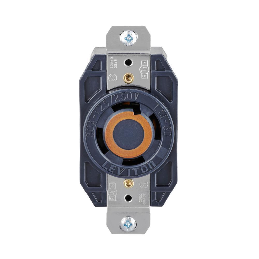 30 Amp Nylon Locking Single Outlet, Black