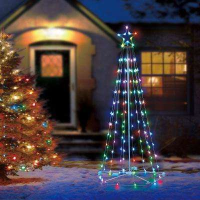 6 ft 130 light rgb led multi color color blast remote controlled cone - Christmas Yard Decorations