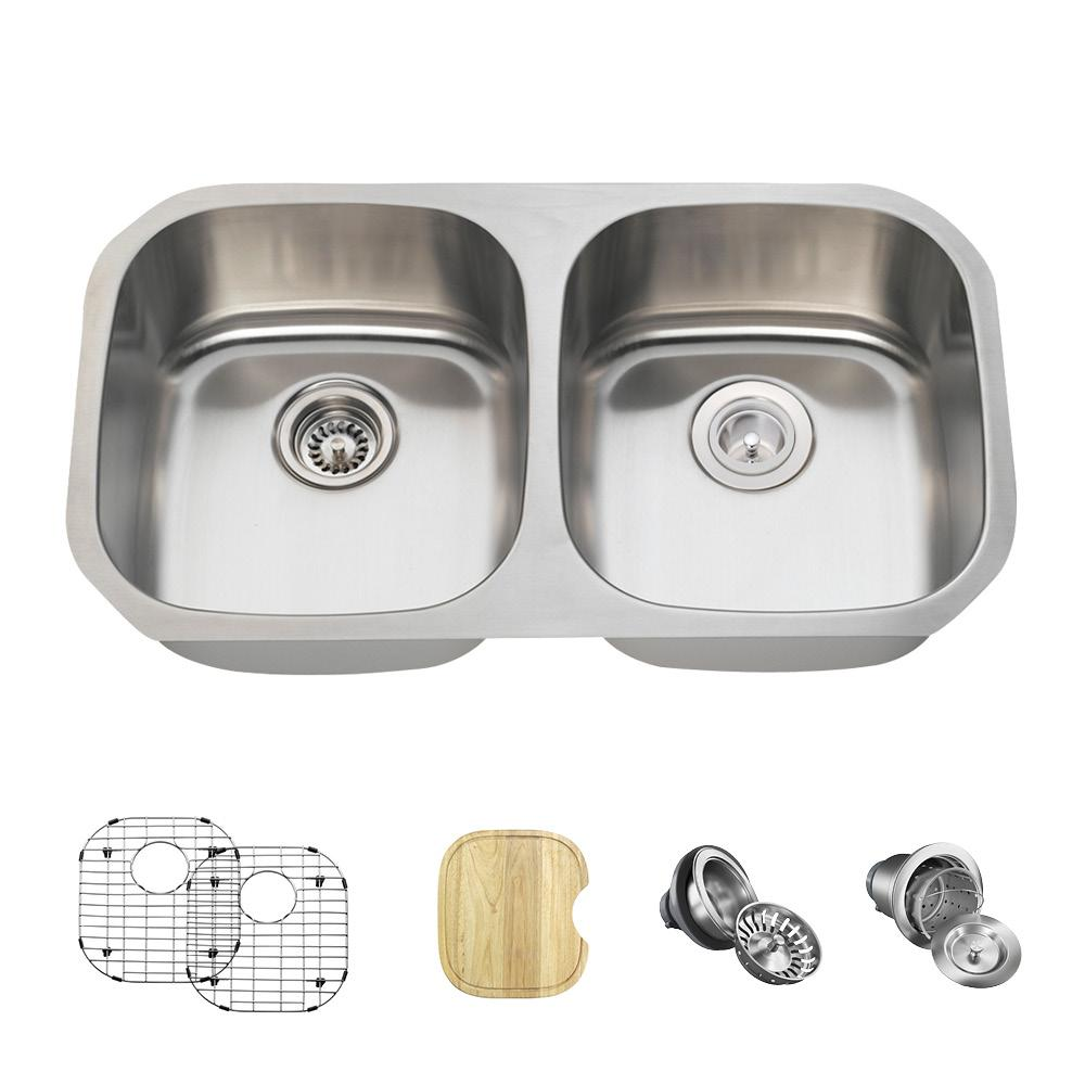 MR Direct All-in-One Undermount Stainless Steel 33 in. Double Bowl ...