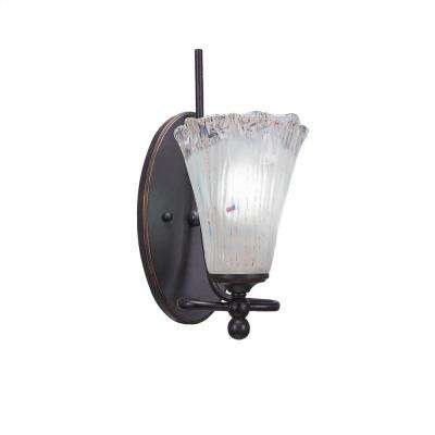 1-Light Dark Granite Sconce with Fluted Frosted Ribbed Glass