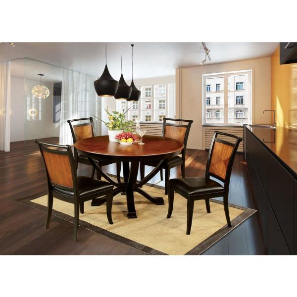 Salida I Espresso And Black Transitional Style Round Dining Table